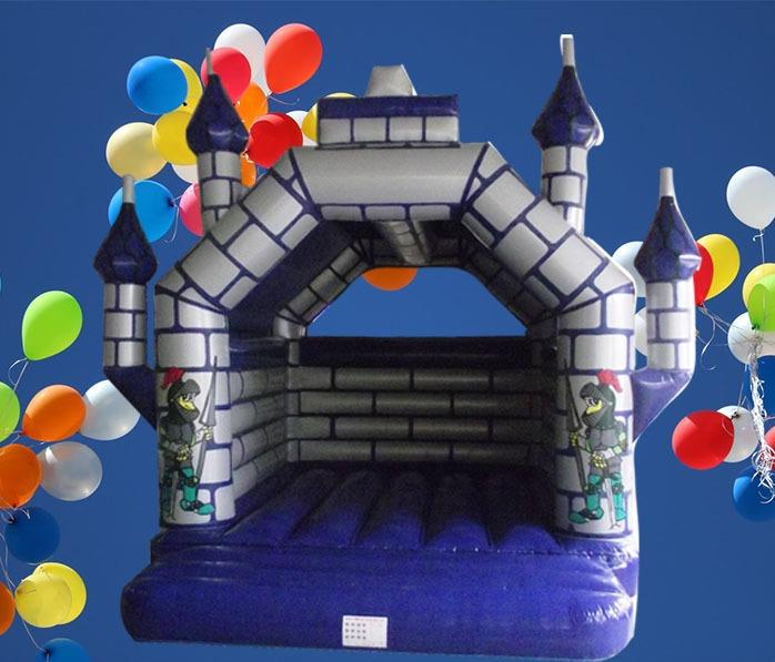 Large Castle Themed Silver and Blue Adult Bouncy Castle 6m x 6m 1079