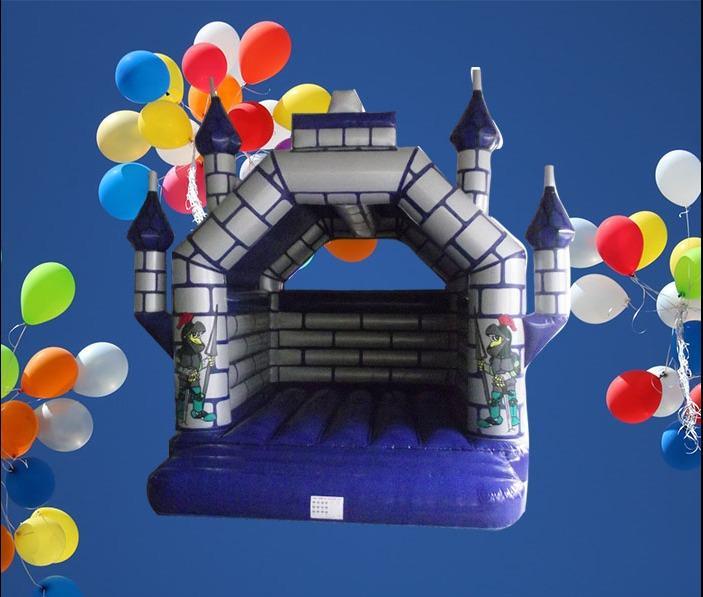 Castle Blue and Silver Bouncy Castle 5m 1077